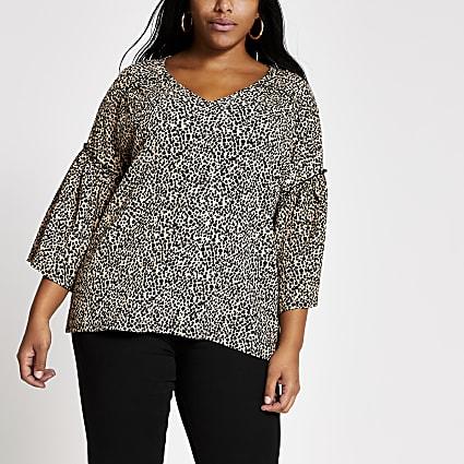 Plus beige leopard print flute sleeve top