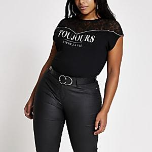 RI Plus - Zwart kanten T-shirt met 'Toujours'-print