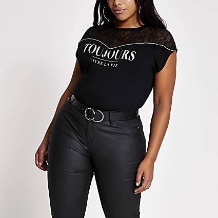 Plus black 'Toujours' lace T-shirt