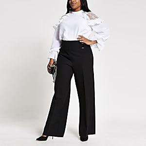 Plus – Schwarze Hose mit weitem Beinschnitt und seitlichen Schnallen