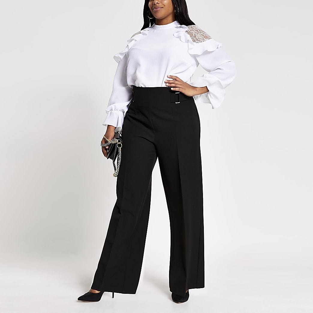 Plus black buckle side wide leg trousers