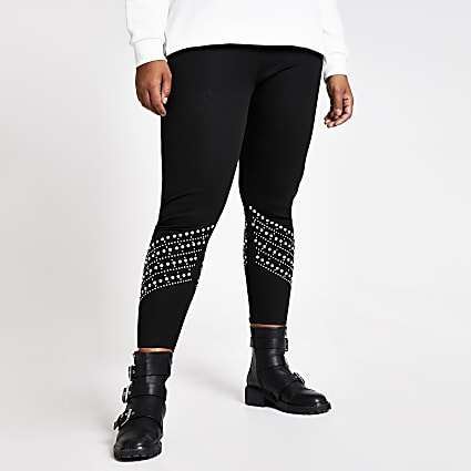 Plus black pearl embellished leggings