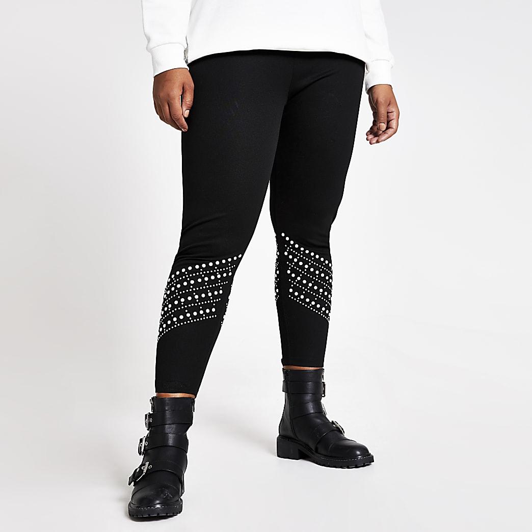 Plus black pearl embellished leggings