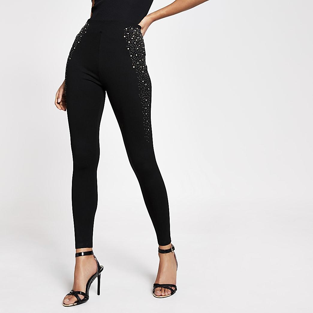 Black studded side leggings