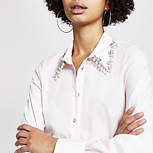 Langärmeliges Hemd in Rosa mit Strass-Perlen-Kragen