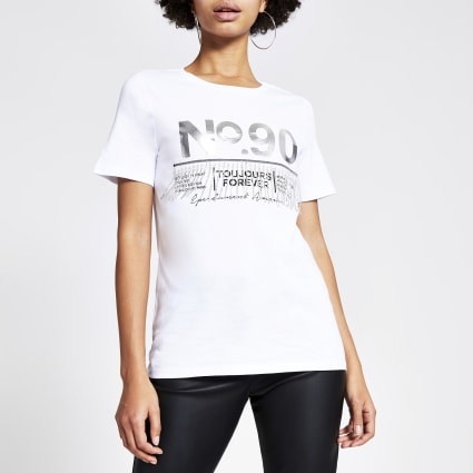 White printed diamante tassel T-shirt