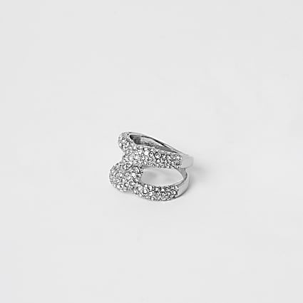 Silver diamante paved interlinked ring