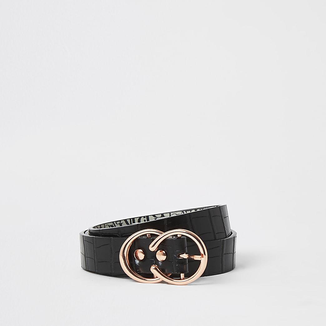 Zwarte riem met dubbele mini-ring en krokodillenprint in reliëf
