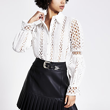 White broderie long sleeve shirt