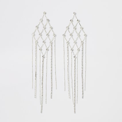 Silver diamante criss-cross triangle earrings