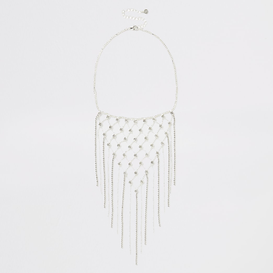 Silver colour criss-cross dangle necklace