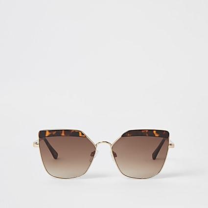 Gold tortoiseshell retro glam sunglasses