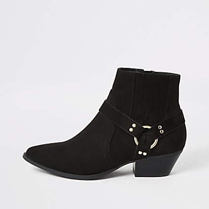 Black suedette buckle side western boots