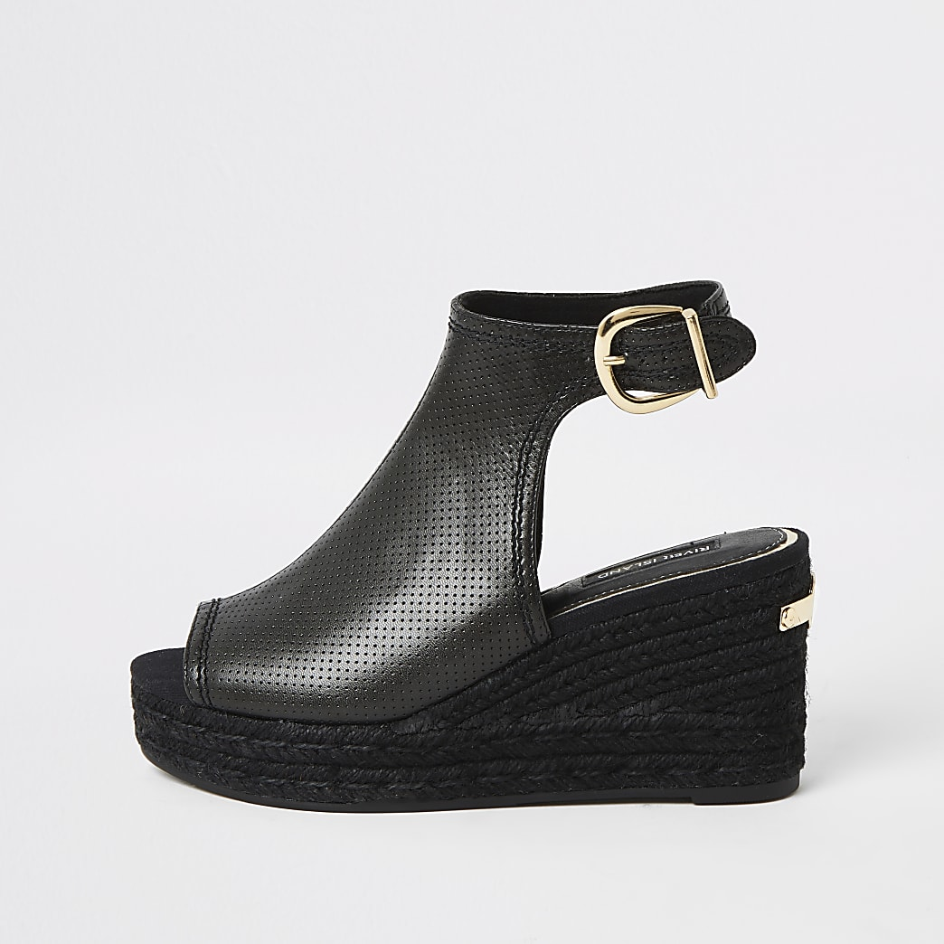 Black perforated open toe wedge sandals
