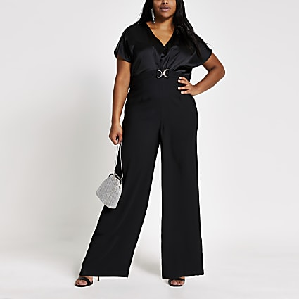 Plus black snaffle front cape sleeve jumpsuit