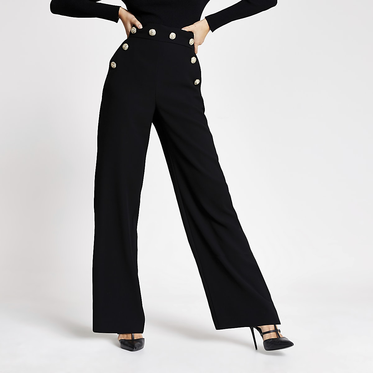 Black button high waist wide leg trousers