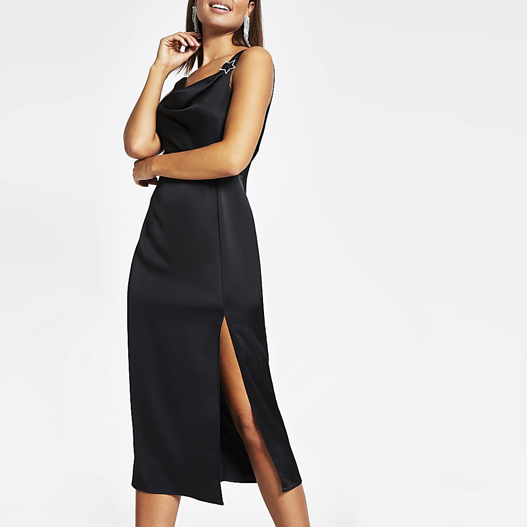 Black cowl neck satin midi slip dress
