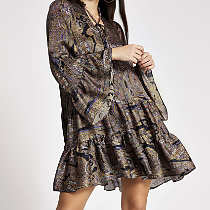 Black paisley printed mini smock dress