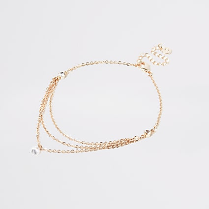Rose gold diamante chain layered anklet