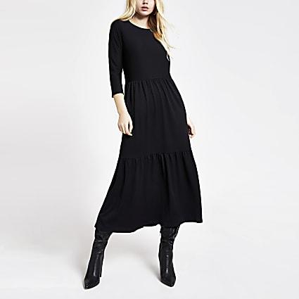 Black long sleeve midi smock dress
