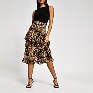 Mini jupe légère brun animaux impression midi