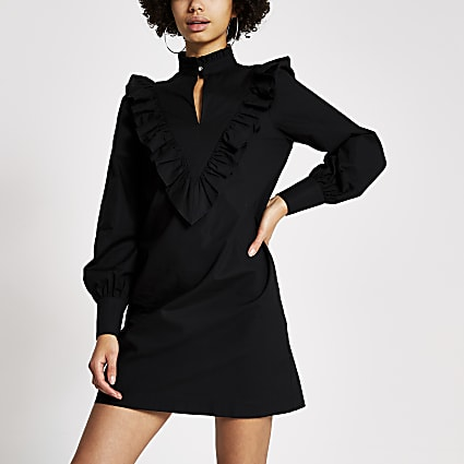 Black frill high neck long sleeve mini dress