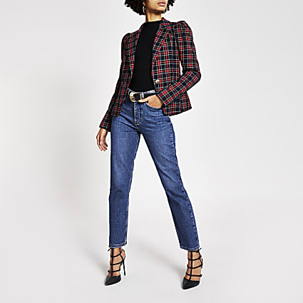 Red tartan long puff sleeve blazer