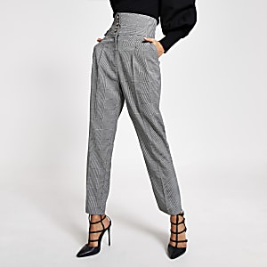 Black mono check tapered corset trouser