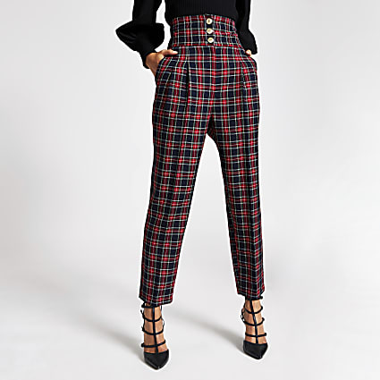 Red tartan corset waist peg trousers