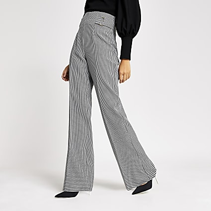 Black dogtooth check wide leg trousers