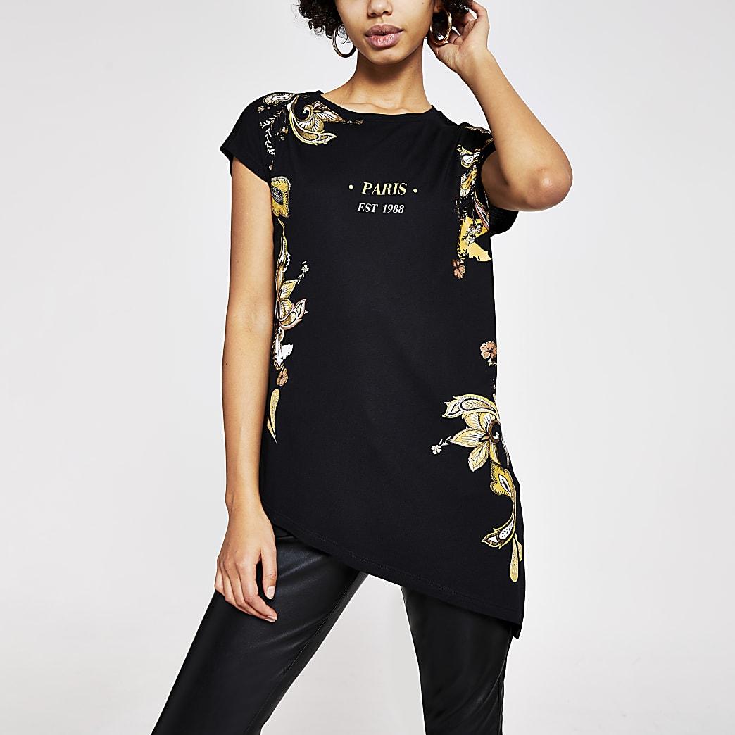 Schwarzes, asymetrisches T-Shirt mit Paisley-Muster