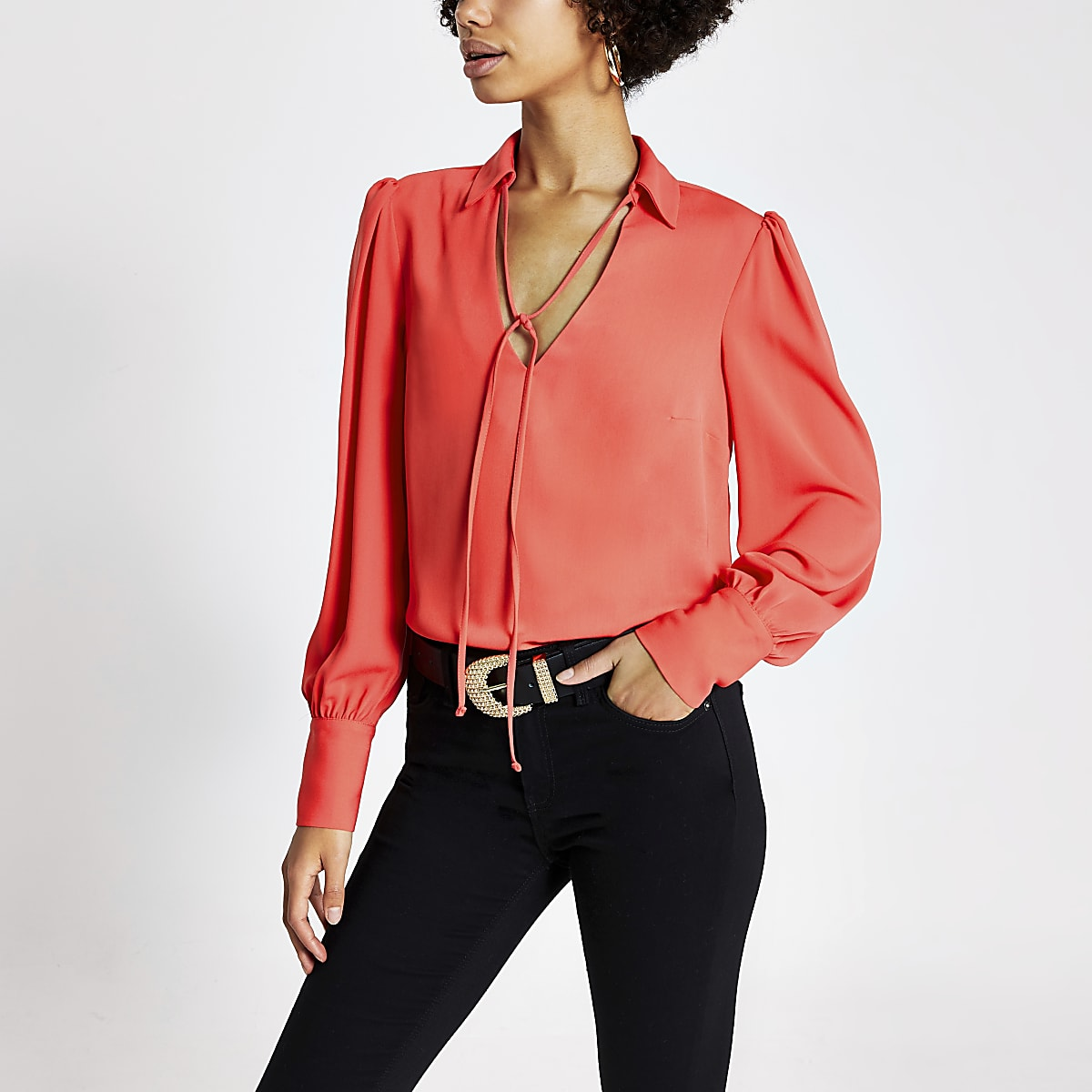 Coral long sleeve tie neck blouse