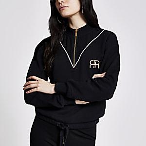 Zwarte geribbelde sweater met halve ritssluiting en RR-print