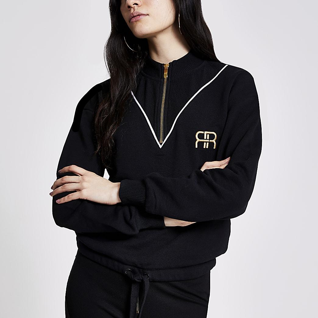 Schwarzes RR-Sweatshirt im Rippenstrick mit kurzem Reißverschluss
