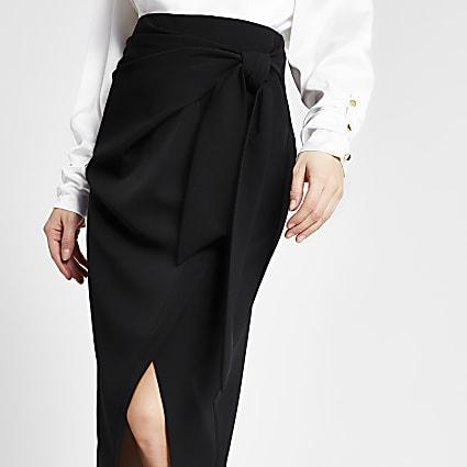Black tie wrap pencil midi skirt