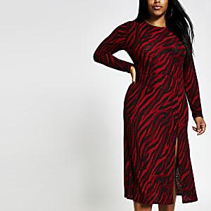 Plus - Robe trapèze mi-longue rouge imprimée