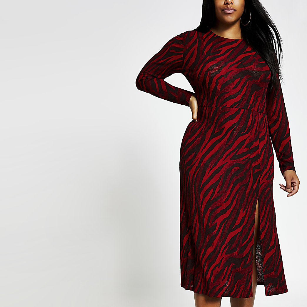 Plus red printed A line midi dress