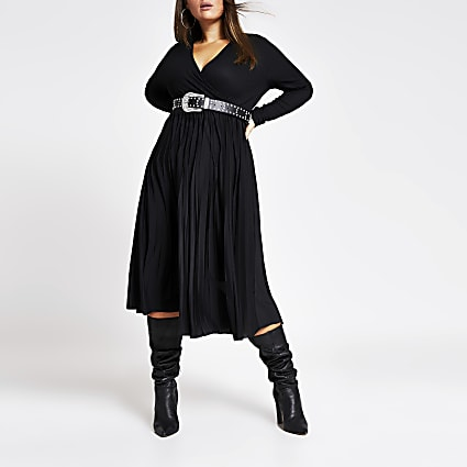 Plus black wrap pleated midi dress