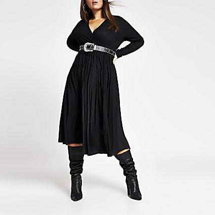 Plus black wrap pleated midi dress