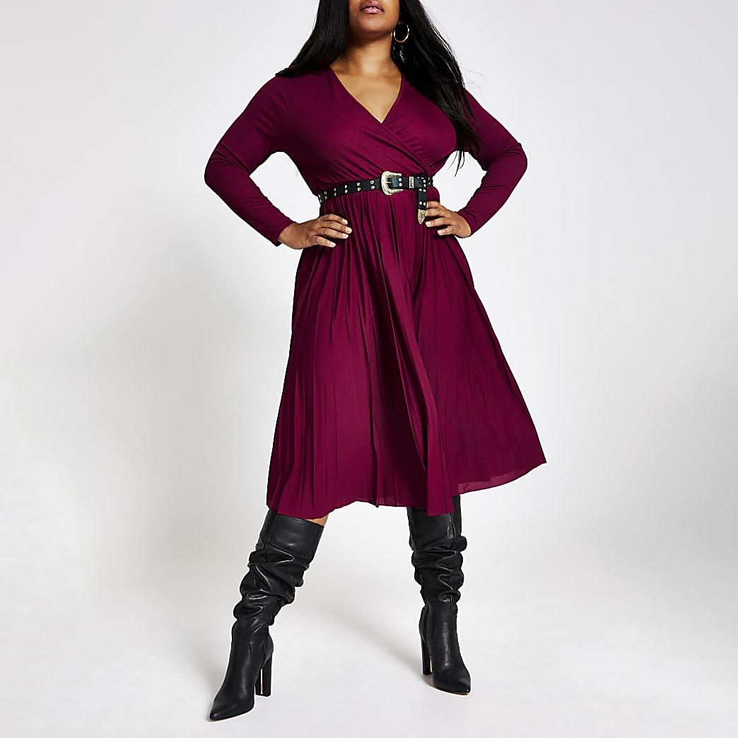 Plus dark red wrap pleated midi dress
