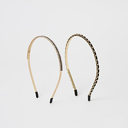 Gold and black embellished headband 2 pack