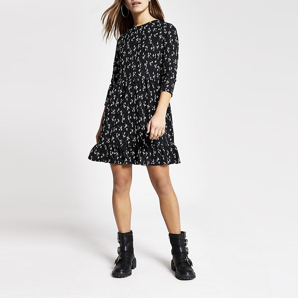 Petite black floral mini smock dress