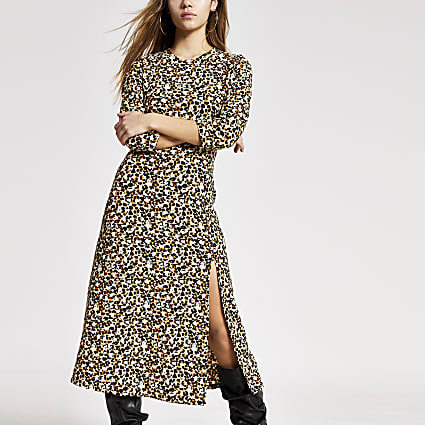 Petite beige printed A line midi dress