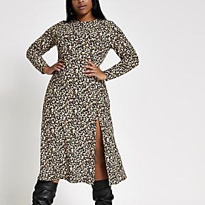 RI Plus - Beige A-lijn midi-jurk met luipaardprint
