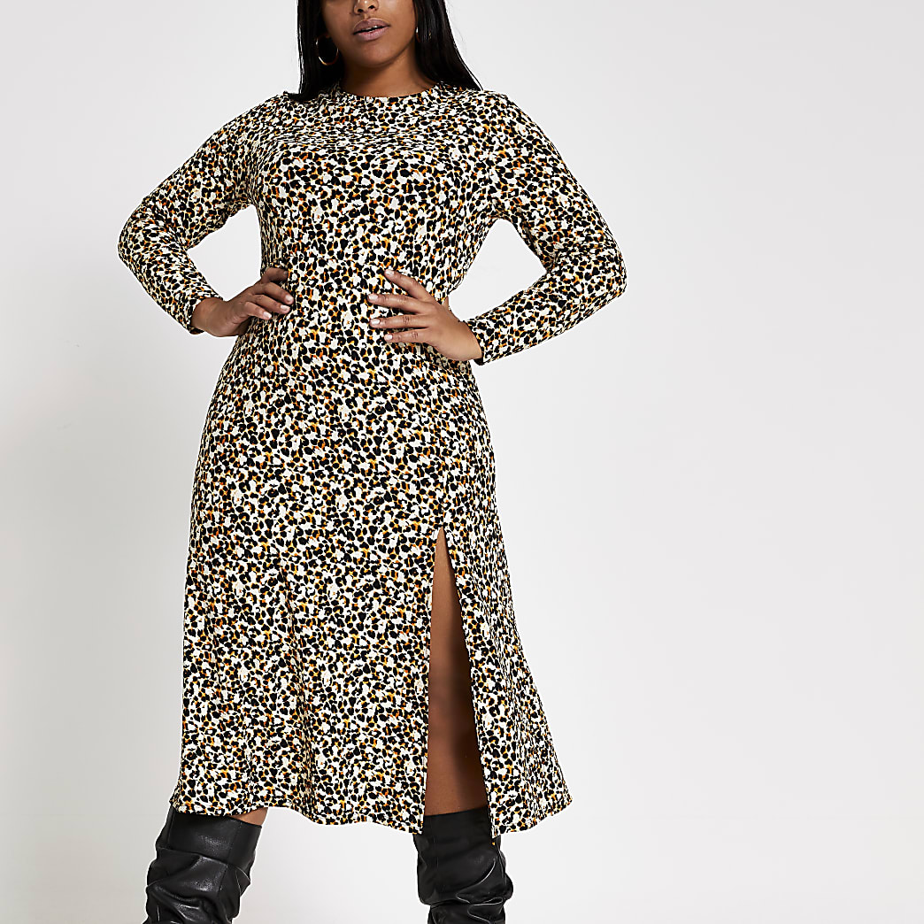 Plus beige leopard print A line midi dress
