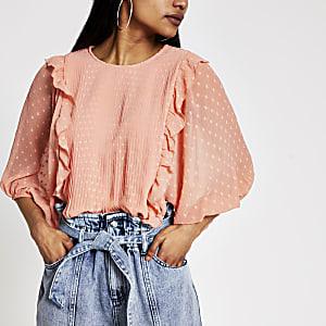RI Petite - Oranje geplooide blouse met ruches