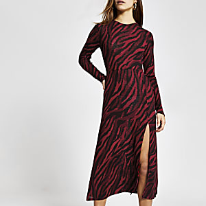 Petite red printed  A line midi dress