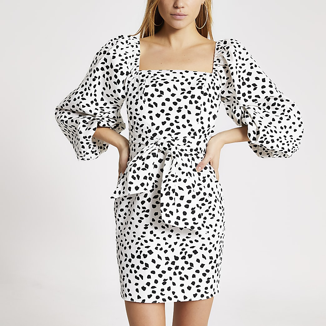 White spot printed puff sleeve mini dress