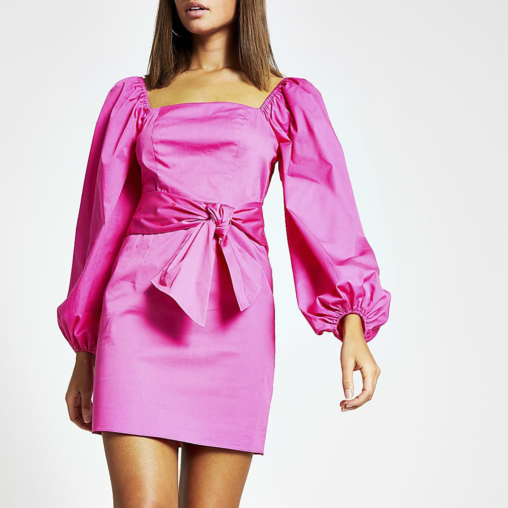 Pink puff sleeve tie waist mini dress