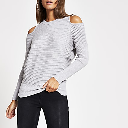 Grey cold shoulder rib knitted jumper